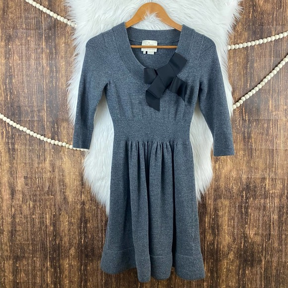 kate spade | Charlie Sweater Dress With Bow Wool M